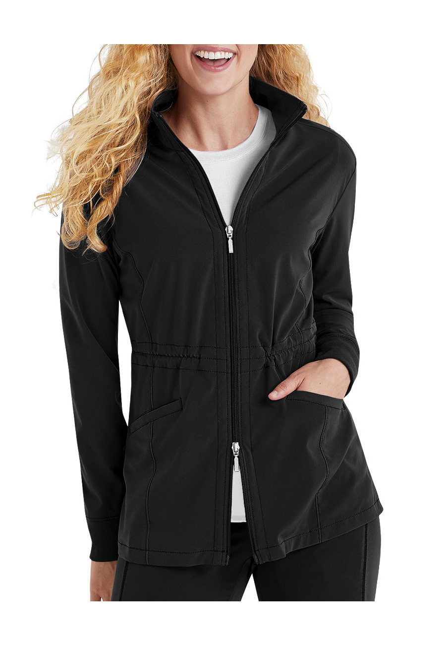 Beyond Scrubs Active Alli Zip Front Scrub Jackets - Black - 2X plus size,  plus size fashion plus size appare
