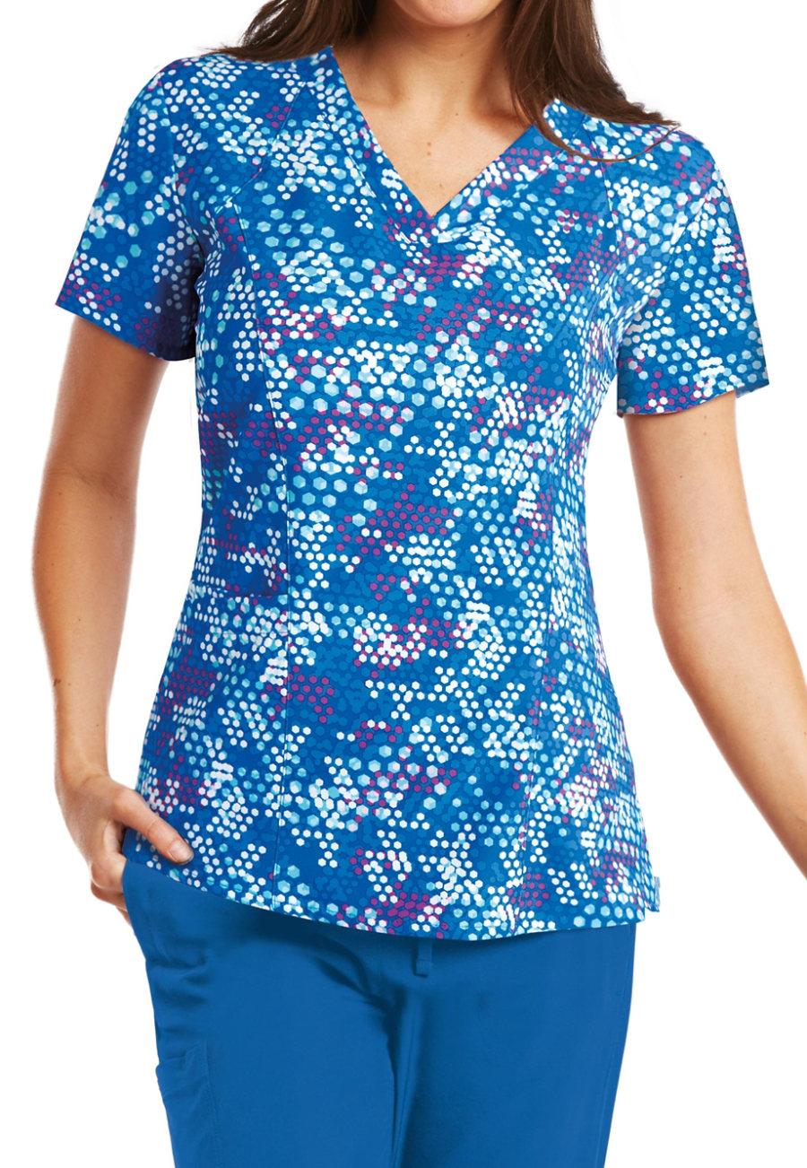 Barco One Hexagon V-neck Print Scrub Tops - Hexagon