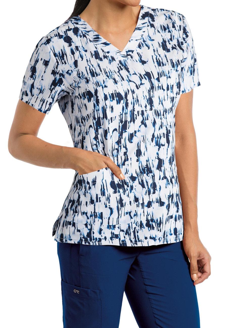 Barco One Oxygen V-neck Print Scrub Tops - Oxygen