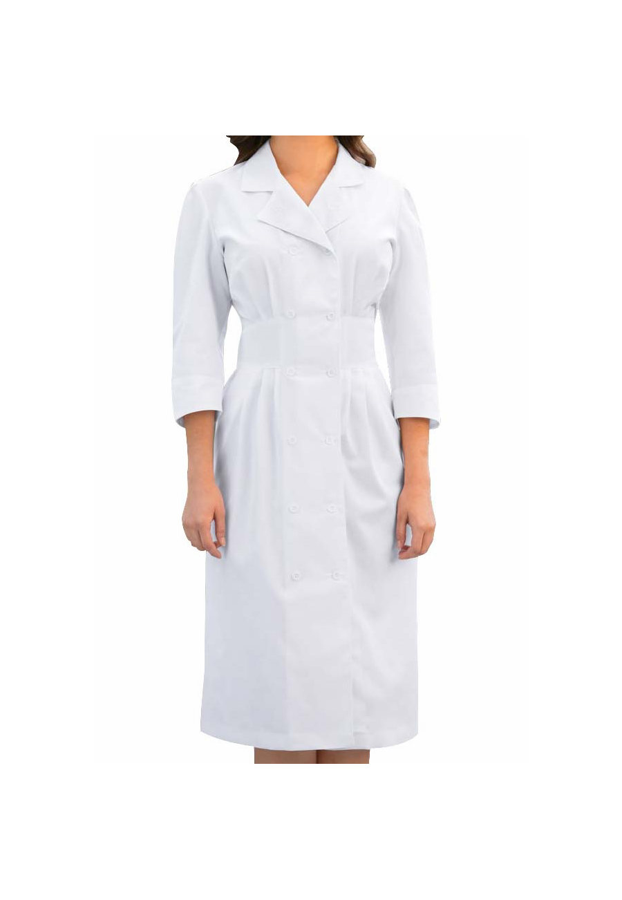 Prima By Barco 3/4 Sleeve Double Breasted Button Front Scrub Dress