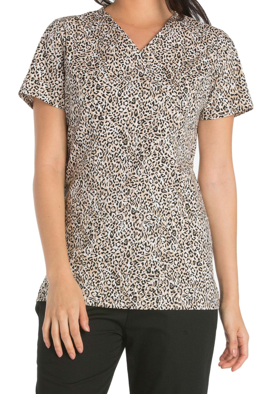 Cherokee Wild Cats Y-neck Print Scrub Tops - Wild Cats - L plus size,  plus size fashion plus size appare