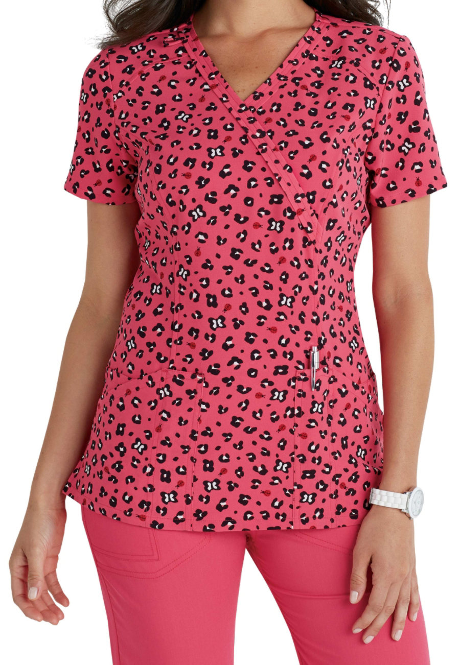 Code Happy Ladybug Leopard Print Scrub Tops With Certainty - Ladybug Leopard
