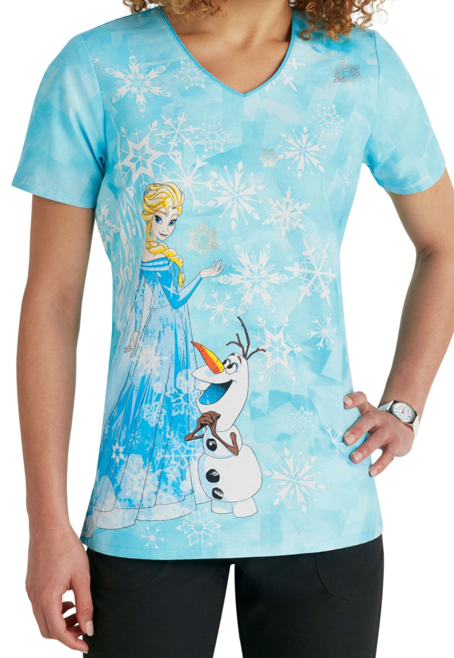 Cherokee Tooniforms Ice Queen Print Scrub Tops - Ice Queen