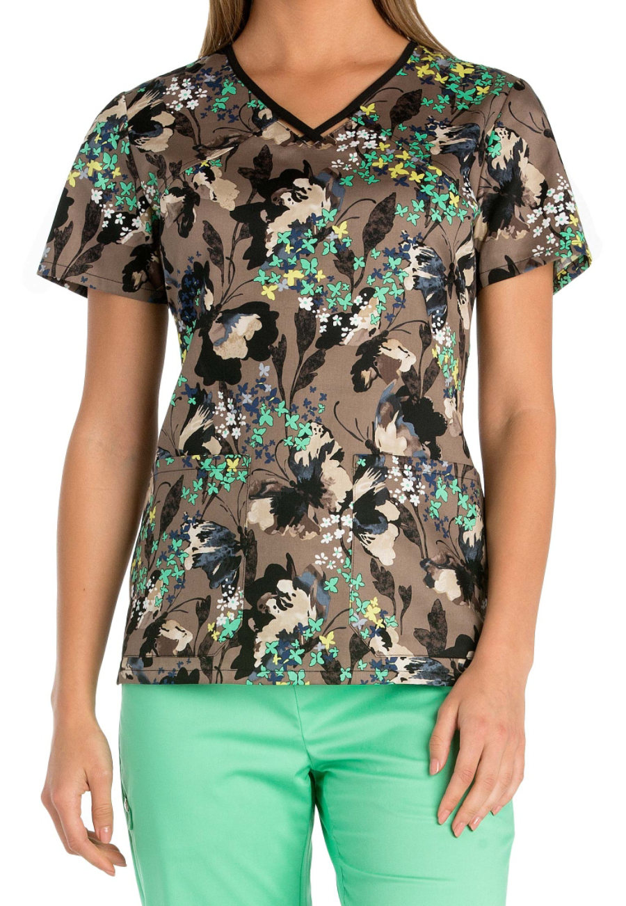 Cherokee Runway Flutter Fantasia V-neck With Cut-outs Print Scrub Tops - Flutter Fantasia