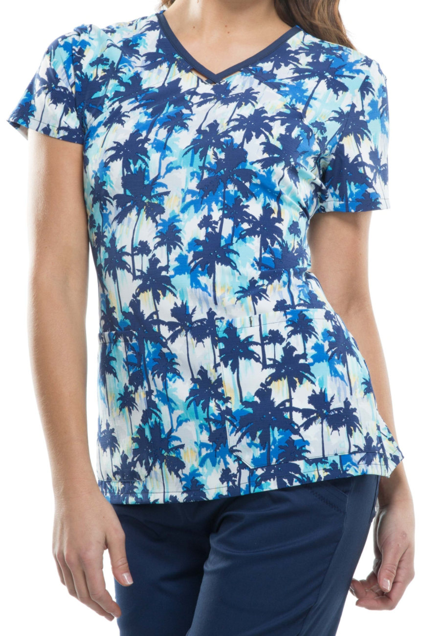 Cherokee Runway Welcome To The Jungle Print Scrub Tops - Welcome To The Jungle