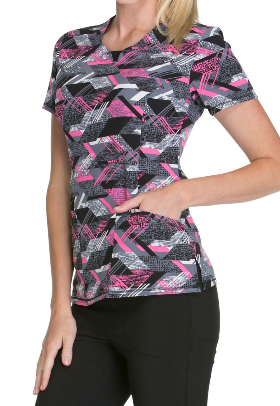 Infinity By Cherokee Line Dance Print Scrub Tops With Certainty - Line Dance print