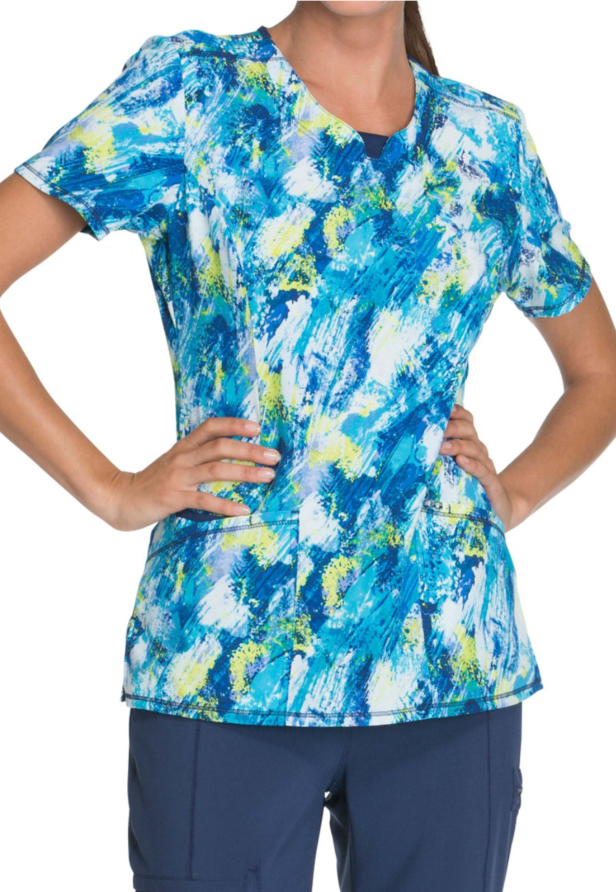 Infinity By Cherokee Wash It Away Print Scrub Tops With Certainty - Wash It Away