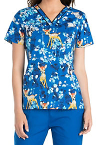Cherokee Tooniforms Hide And Seek Bambi V-neck Print Scrub Tops