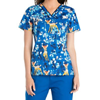 Cherokee Tooniforms Hide And Seek Bambi V-neck Tops