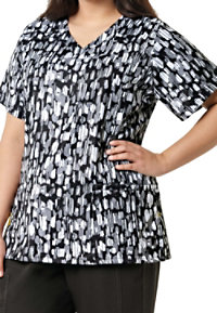 WonderWink Plus Abstract Ink Print V-neck Scrub Tops