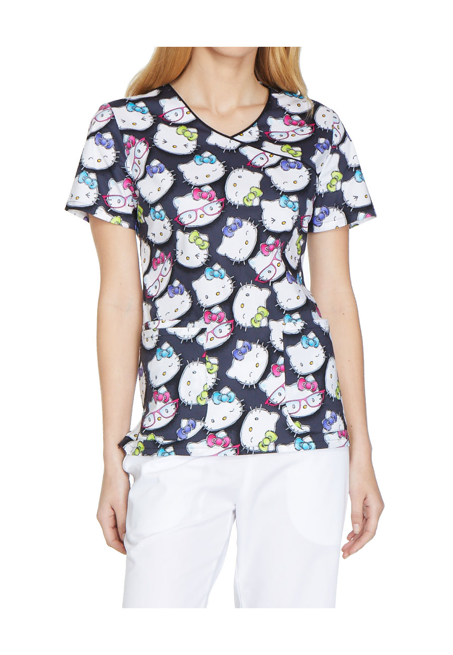 Cherokee Tooniforms Hello Kitty Glasses Print Scrub Tops - Hello Kitty Glasses