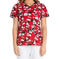 Cherokee Tooniforms Think Minnie Cut-out V-neck Tops
