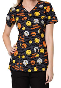Code Happy Bats About Halloween Print Scrub Tops With Certainty