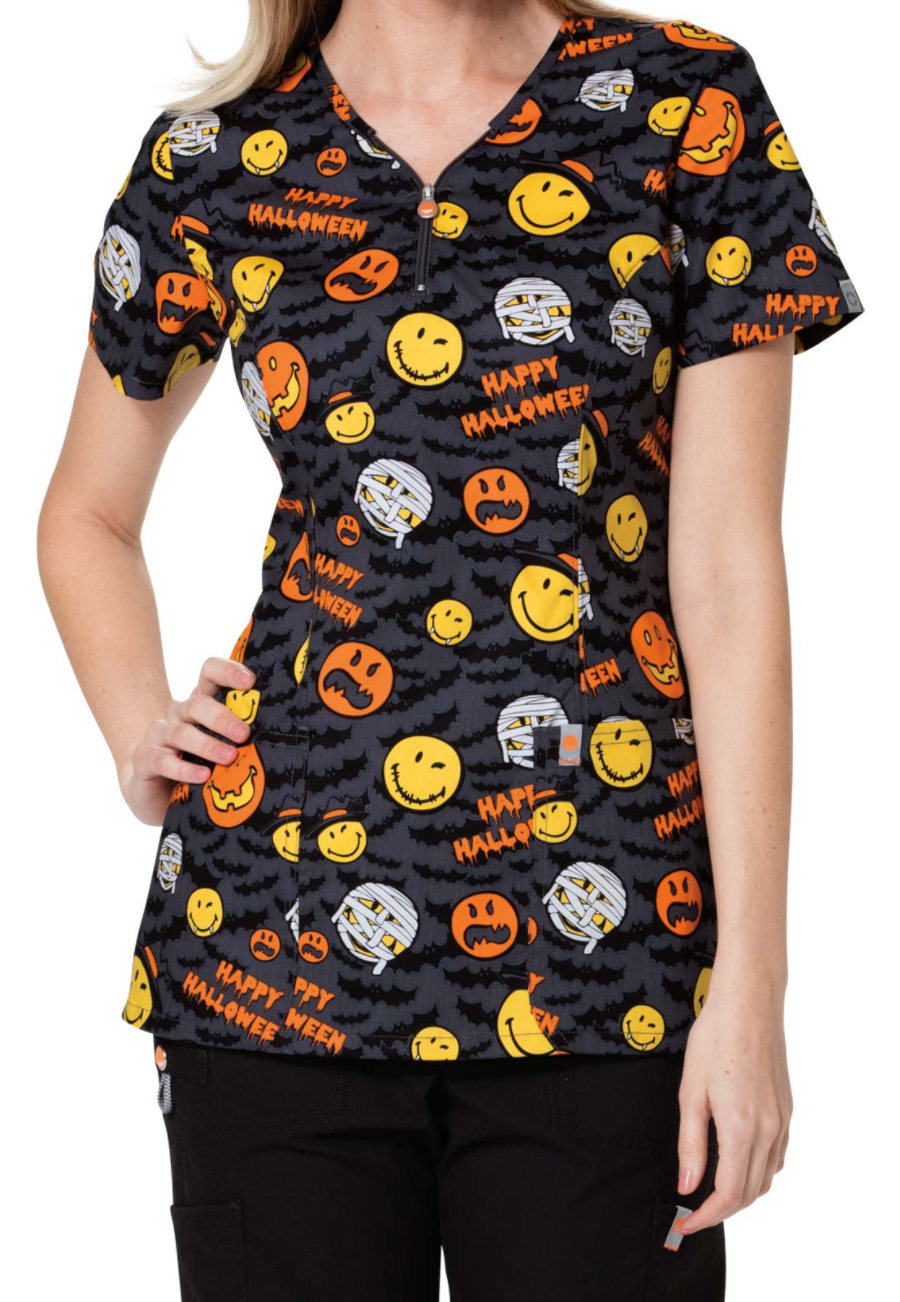 Code Happy Bats About Halloween Print Scrub Tops With Certainty - Bats About Halloween