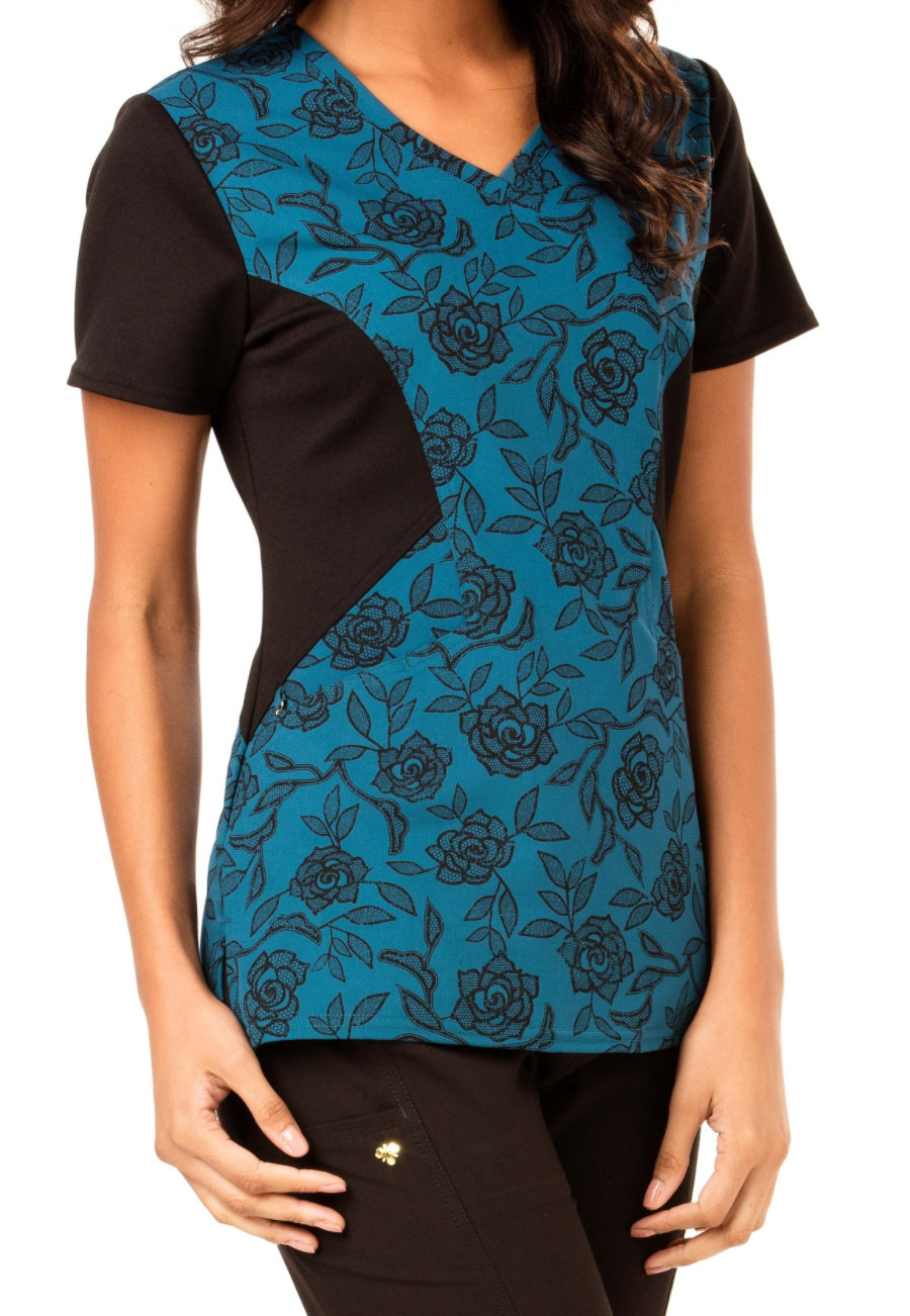 Careisma By Sofia Vergara Let's Lace It Caribbean Print Scrub Tops - Lets Lace It Caribbean