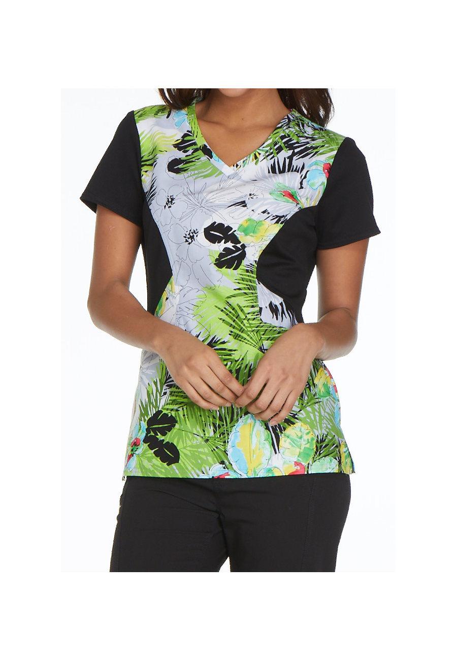Careisma by Sofia Vergara Tropical Daydream V-neck Print Scrub Tops - Tropical Daydream