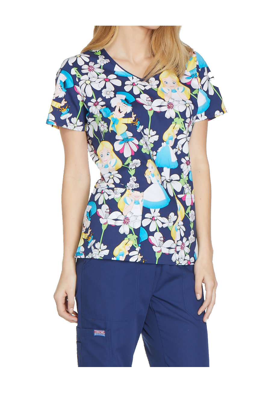 Cherokee Tooniforms Alice Looking Glass V-neck Print Scrub Tops - Alice Looking Glass