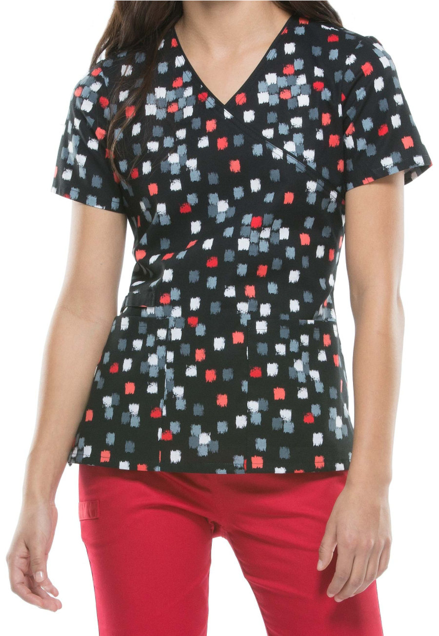 Cherokee Cube Appeal Print Scrub Tops - Cube Appeal