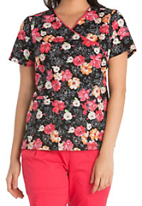 Cherokee Fleur-ever Yours Crossover Print Scrub Tops