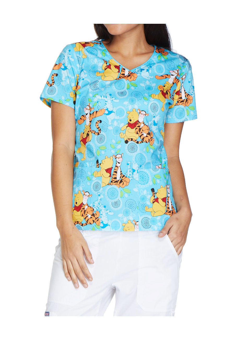 Cherokee Tooniforms My Tigger Friend V-neck Print Scrub Tops - My Tigger Friend