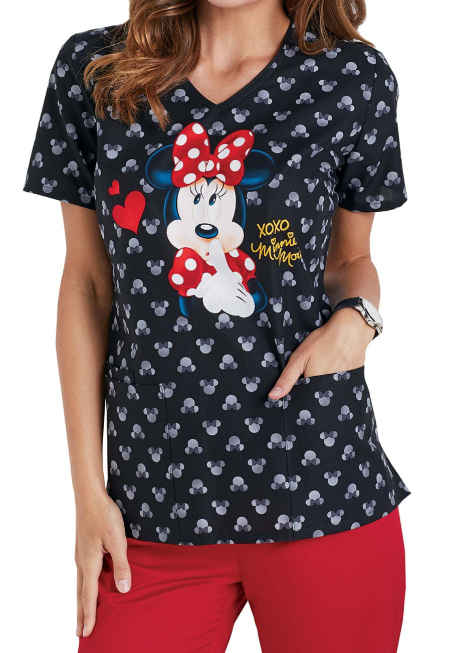 Cherokee Tooniforms Minnie XOXO V-neck Print Scrub Tops - Minnie XOXO - M 614MX
