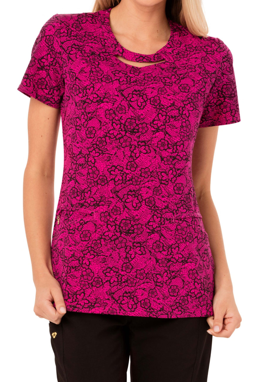 Careisma By Sofia Vergara Fiercely Flawless Right Lace, Right Time Print Scrub Tops - Right Lace Right Time