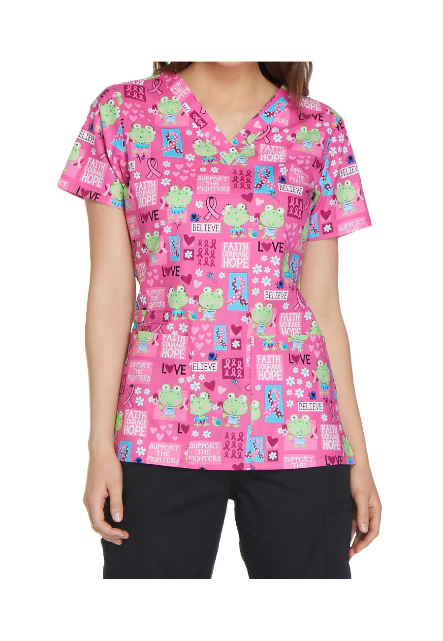 Cherokee Toad-ally Courageous V-neck Print Scrub Tops - Toad-ally Courageous