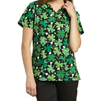 White Cross Lucky Shamrock Print Tops