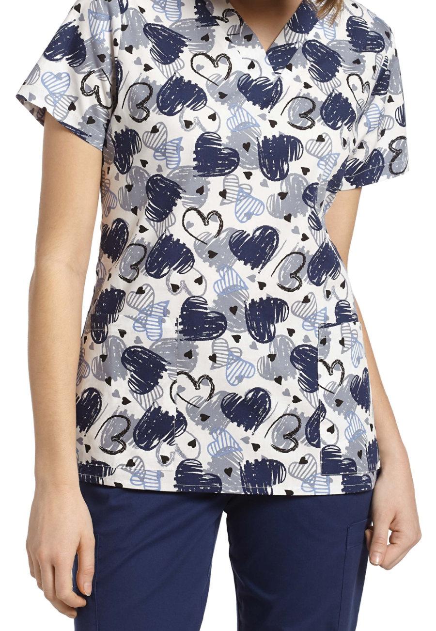 White Cross Sketchy Hearts V-neck Print Scrub Top