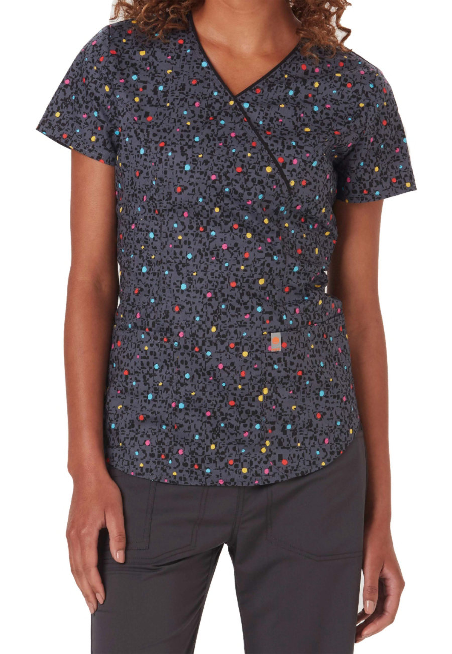 Code Happy So Speck-tacular Print Scrub Tops With Certainty - So Speck-tacular