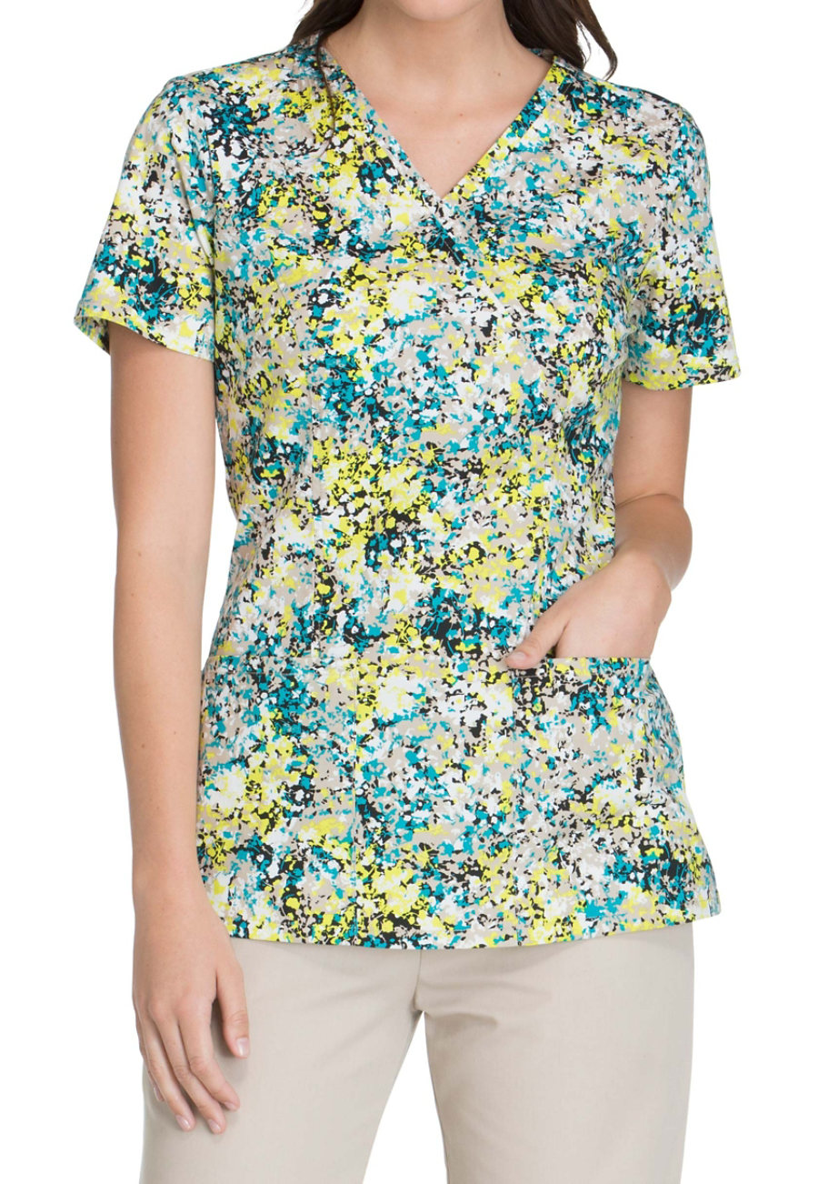 Cherokee Paint Me A Picture Print Scrub Tops - Paint Me A Picture