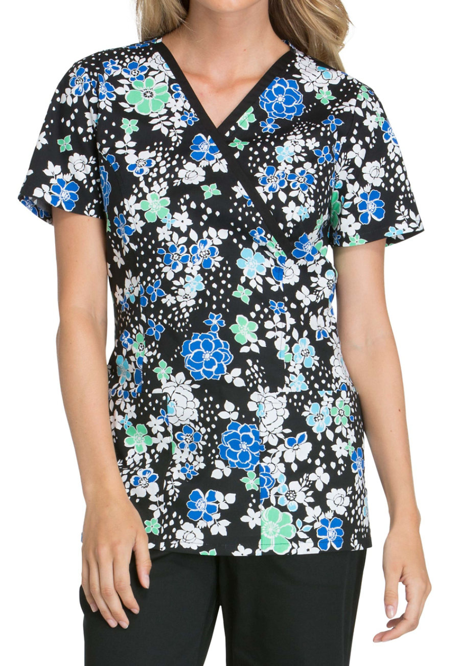 Cherokee Petal For Your Thoughts Print Scrub Tops - Petal For Your Thoughts