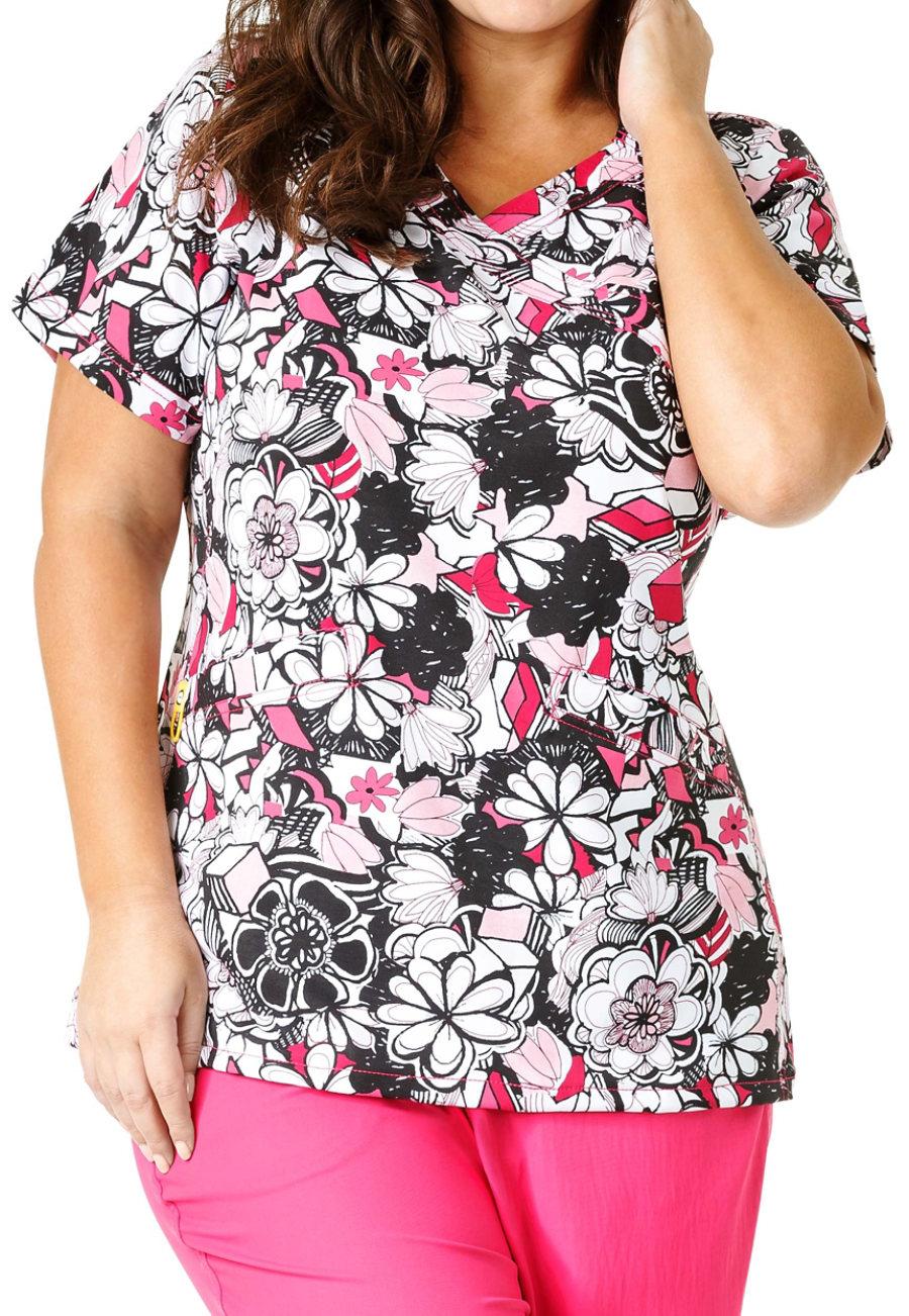 WonderWink Plus Floral Graffiti Mock Wrap Print Scrub Top