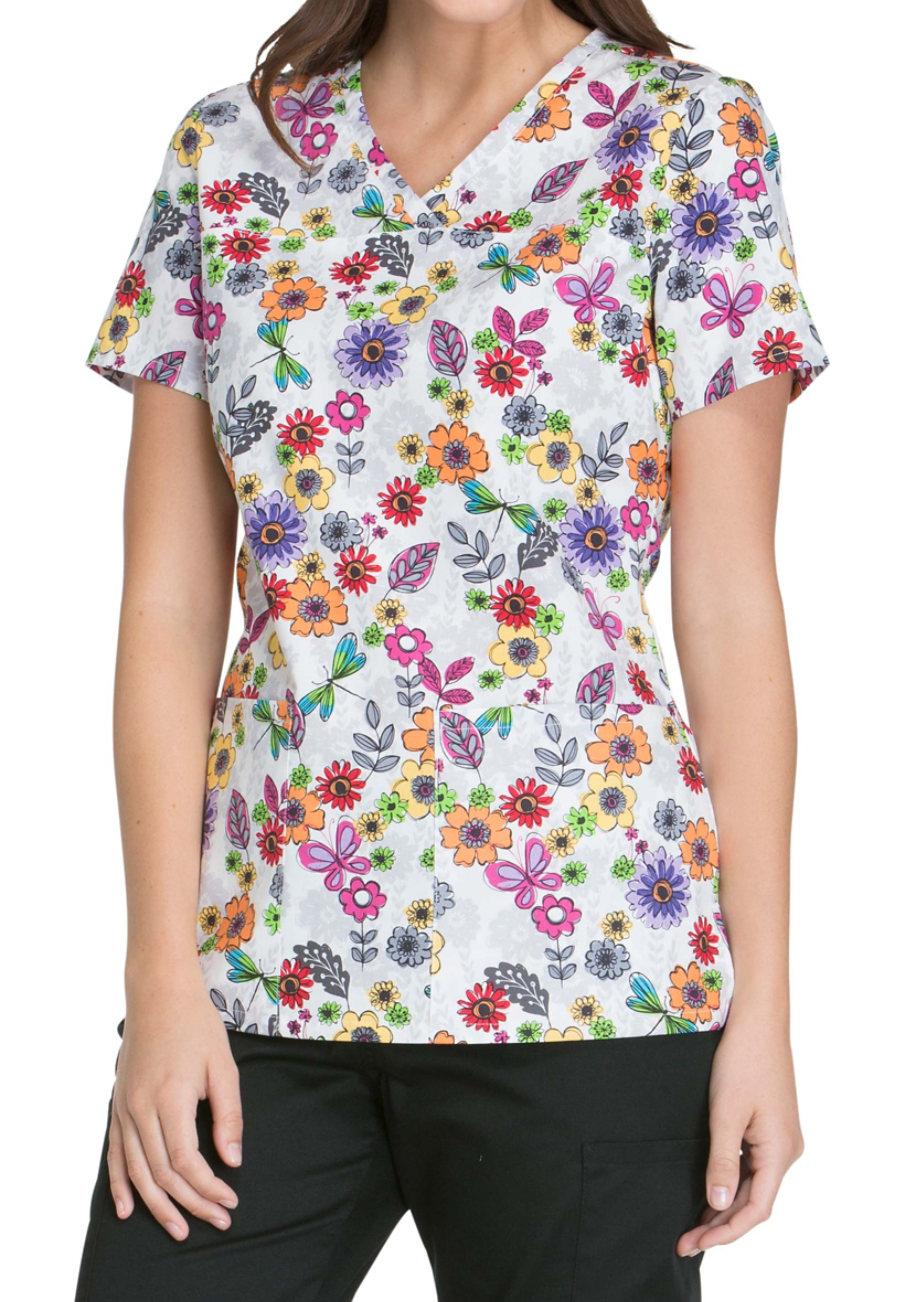 Cherokee Float Away Flowers Print Scrub Tops - Float Away Flowers - XS