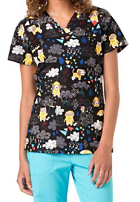 Code Happy Raining Cats And Dogs Print Scrub Tops With Certainty