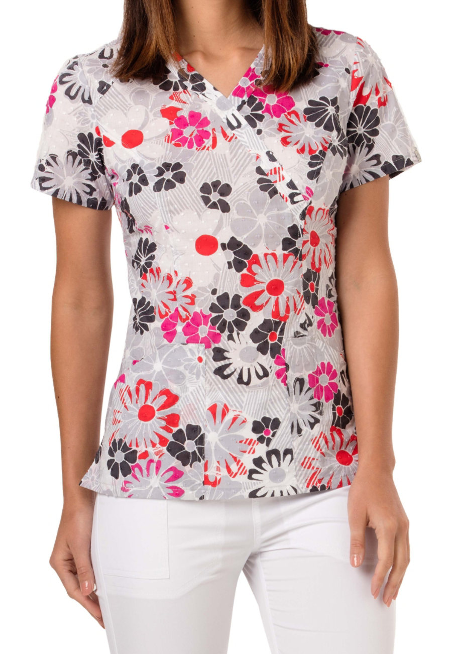 Code Happy Good Ol Daisies Print Scrub Tops With Certainty - Good Ol Daisies
