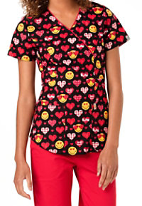 Code Happy Valentines Day Smiley World Print Scrub Tops With Certainty