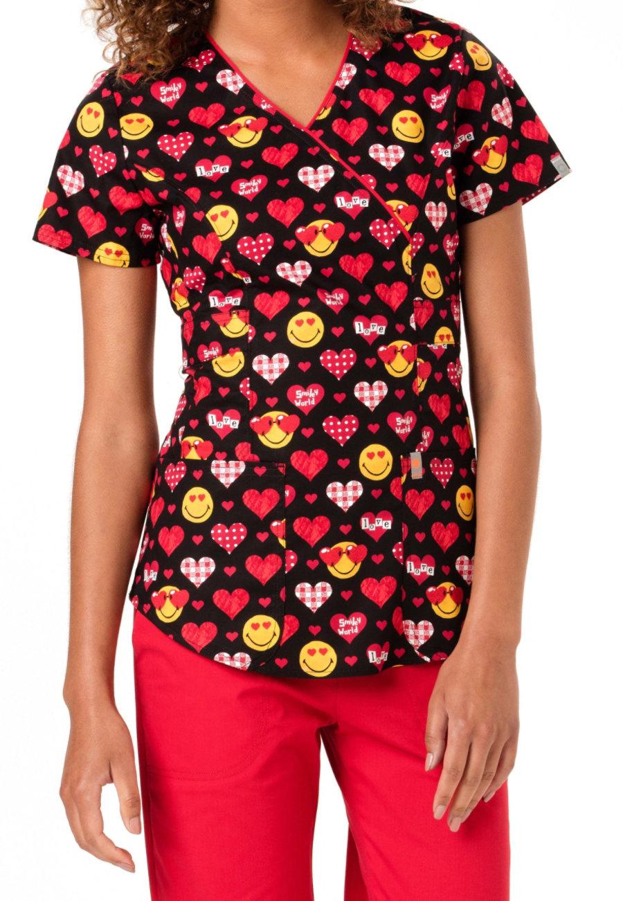 Code Happy Valentines Day Smiley World Print Scrub Tops With Certainty - Valentines Day Smiley World