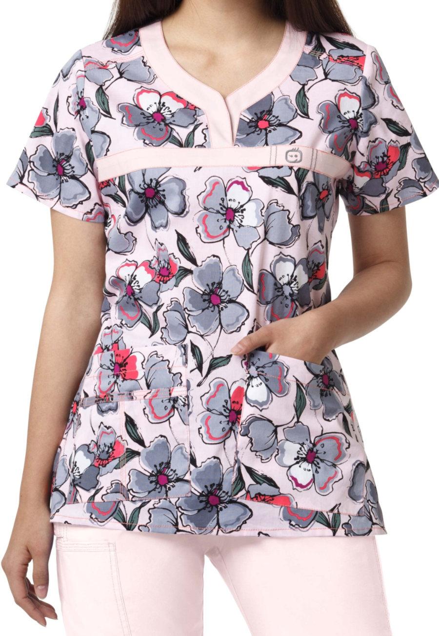 WonderFlex Grey Area Y-neck Print Scrub Tops - Grey Area - XS plus size,  plus size fashion plus size appare