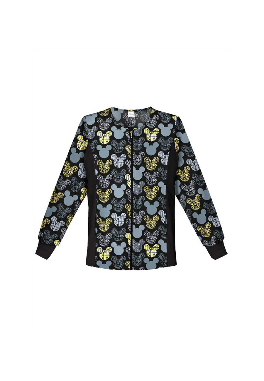 Cherokee Tooniforms Just Scrolling Along Print Scrub Jacket - Just Scrolling Along - 5X plus size,  plus size fashion plus size appare