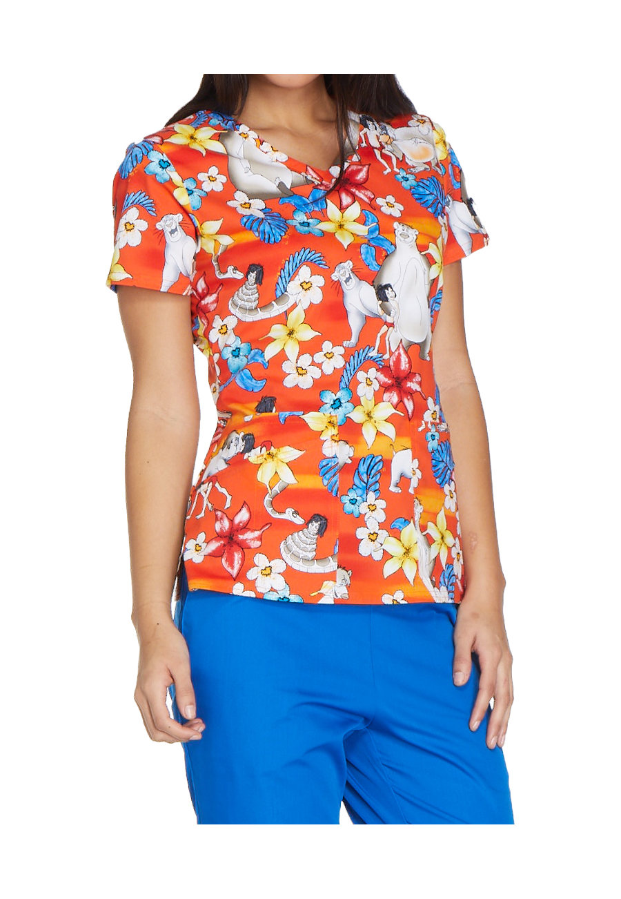 Cherokee Tooniforms Jungle Friends V-neck Print Scrub Tops - Jungle Friends