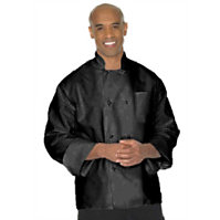 Fame Black L/s 8 Knot Chef Coat