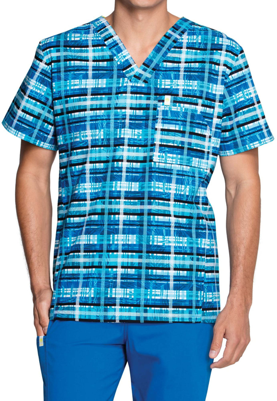 Code Happy Men's Tropical Plaid Scrub Tops With Certainty - Tropical Plaid