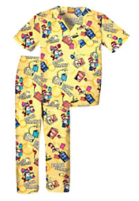 Cherokee Tooniforms Book Smart Kids Print Scrub Sets