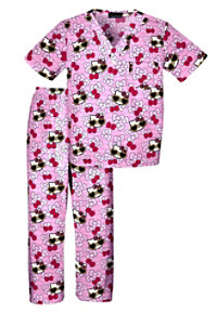 Cherokee Tooniforms Hello Kitty Always Kids Print Scrub Set