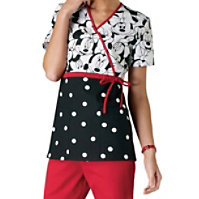 Cherokee Tooniforms Miss Minnie Mouse Empire Waist Mock-wrap Tops
