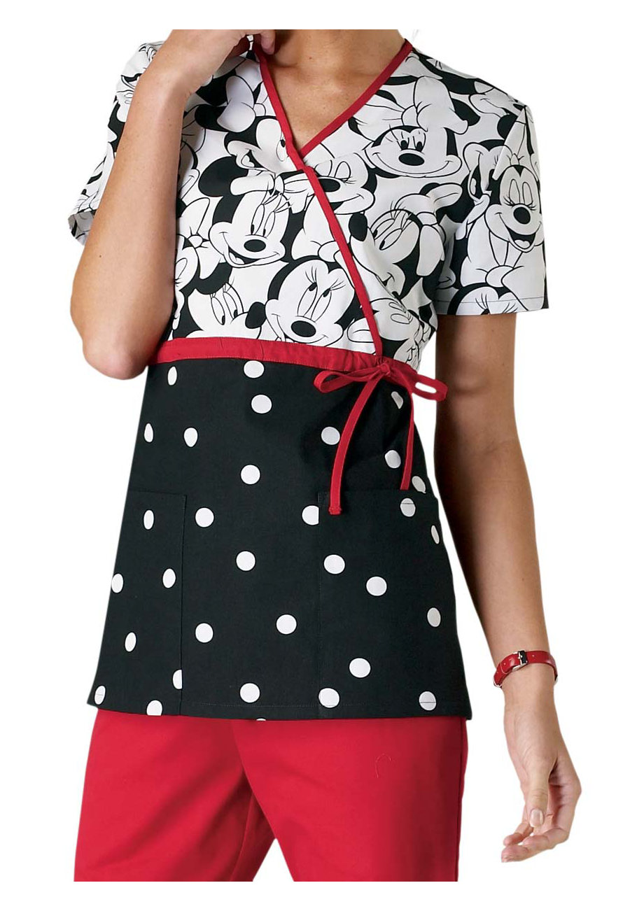 Cherokee Tooniforms Miss Minnie Mouse Print Empire Waist Mock-wrap Scrub Tops - Miss Minnie
