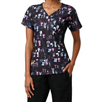 WonderWink Four-Stretch Wuff Waggins Crossover Print Tops