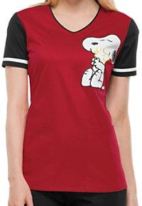 Cherokee Tooniforms Hug Me Snoopy Print Scrub Tops