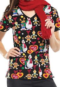 Cherokee Tooniforms Sesame Ho Ho Print Scrub Tops